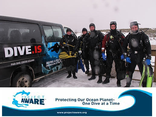 Dedicated team of divers cleaning debris at Silfra
