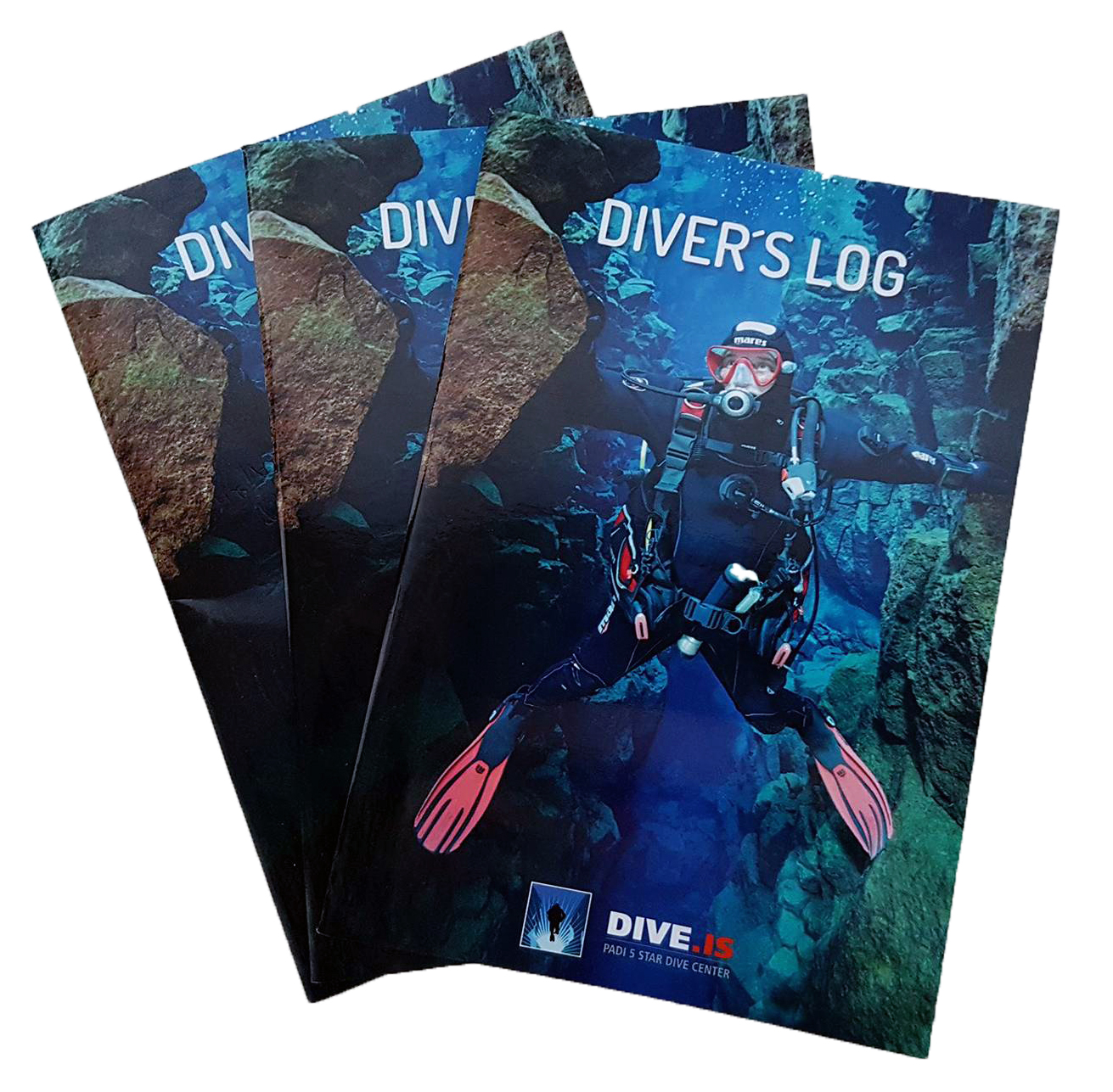 Stack of three DIVE.IS Silfra Logbooks for divers showing Mares diver touching the continental plates on both sides in Big Crack