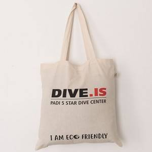 Eggshell color ecofriendly shopping bag with black and red DIVE.IS PADI 5 start dive center print and long strap