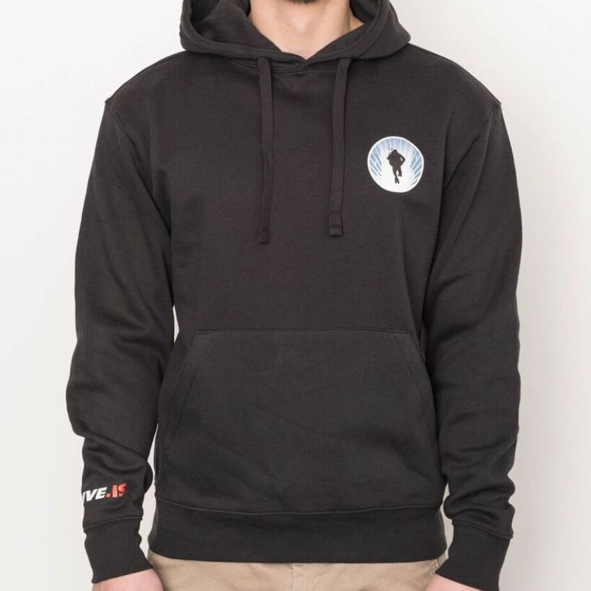 Black hoodie sweater with round small DIVE.IS logo black diver contour on white ground framed by blue silfra walls left chest