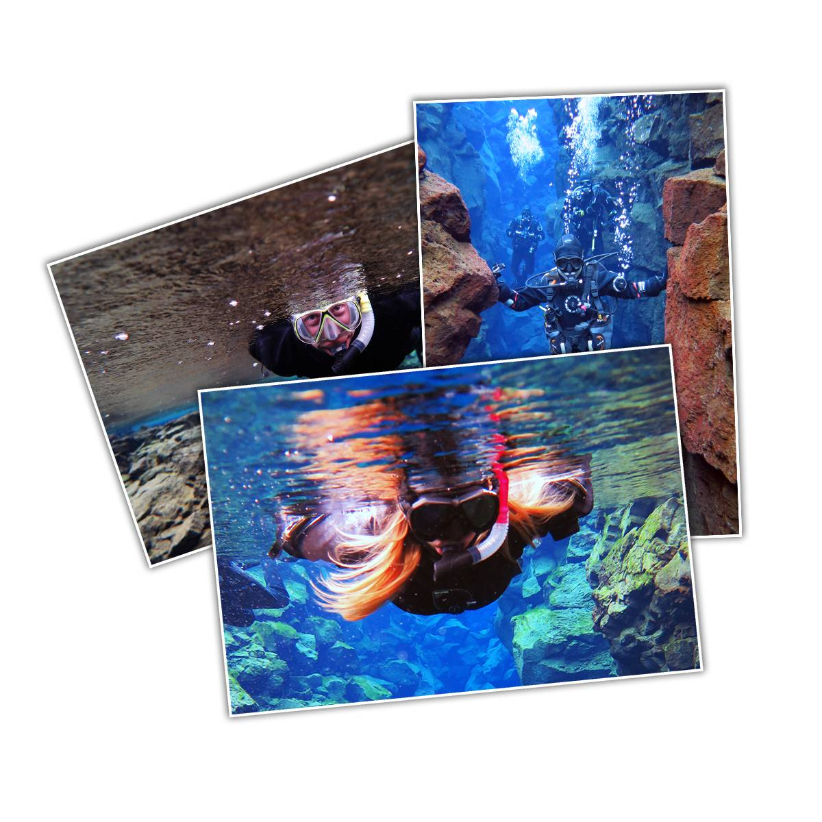 Selection of three customer tour photos from diving and snorkeling tours in Silfra fissure in Iceland with DIVE.IS